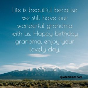 Our life is beautiful because we have a wonderful grandmother like you.