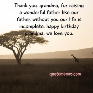Thank you grandma for your love and care for my father and us,
