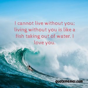 I cannot live without you; living without you is like a fish taking out of water. I love you.