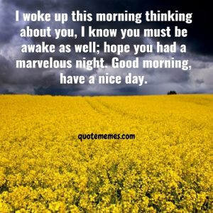 I know you must be awake as well; hope you had a marvelous night. Good morning, have a nice day.